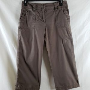 NY & Co Brown Cargo Crop Pants